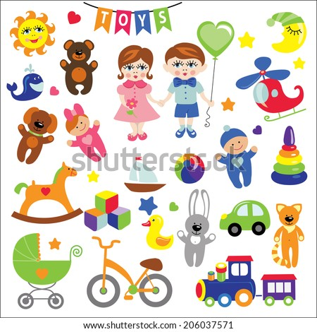 A set of cute toys icons for little Baby.Cartoon Baby  girl and boy.Vector Baby shower design elements.For registration of the online store,invitations, magazines. For print and the web.