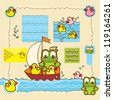 A set of cute vector icons: frog and rubber ducks in a boat - stock photo