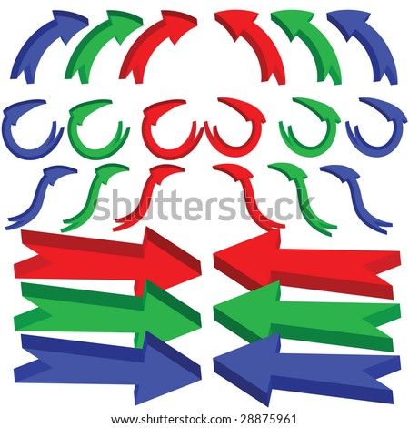 A set of 3d arrows with bends and twists, icon set isolated on a white background.  JPEG and EPS8 files available, background on separate layer - stock vector
