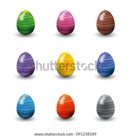A set of decorated three dimensional glossy Easter eggs. EPS10 vector format. - stock vector