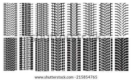 A set of detailed tire prints. Eight tracks white and eight black. - stock vector