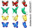a set of different butterflies, various types, color options and location - stock vector