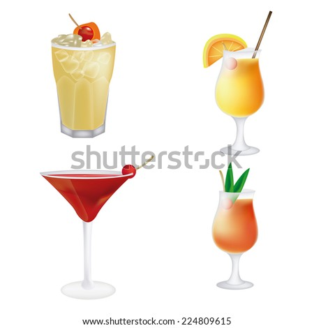 a set of different cocktails on a white background