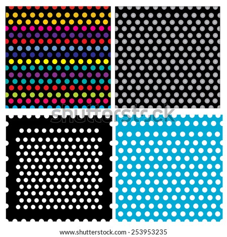 a set of 4 different dot pattern - stock vector