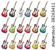 A set of different electric guitars. Vector illustration. - stock vector