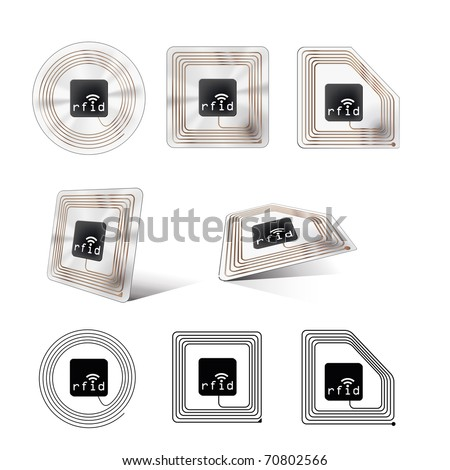 A set of different looking rfid chips - stock vector