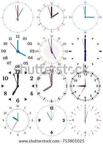 Set Different Mechanical Clocks Image Each Stock Vector 760852144 ...