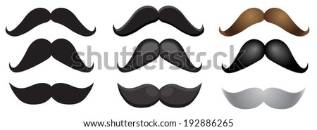 a set of different moustache for gentlemen - stock vector