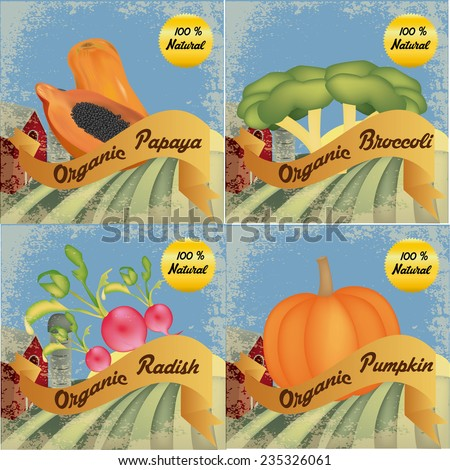 a set of different organic products on colored backgrounds