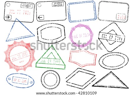 A set of different passport or post stamps. All vector objects are isolated and grouped. Stamps have transparent background. Colors and white background color are easy to adjust or customize. - stock vector