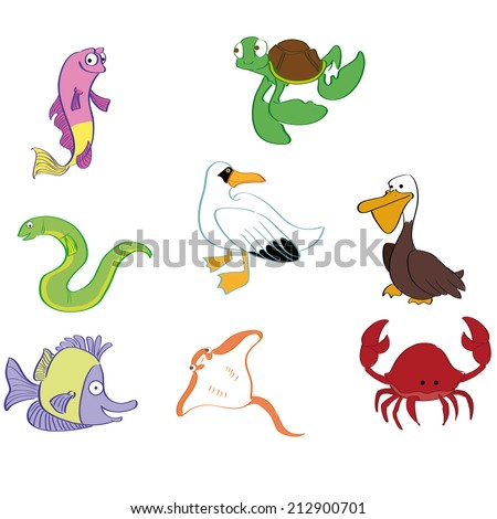 a set of different sea animals on a white background - stock vector