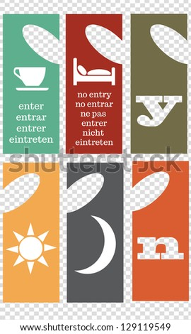 A set of different styled hotel room door privacy hangers - stock vector
