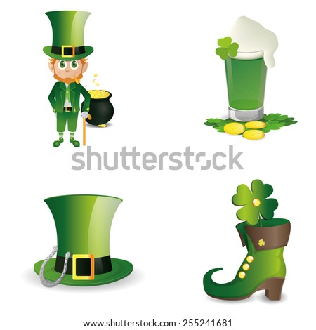 a set of different traditional elements for patrick's day