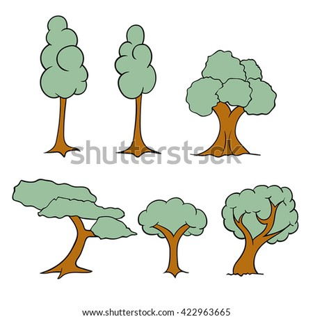 A set of differently shaped vector trees