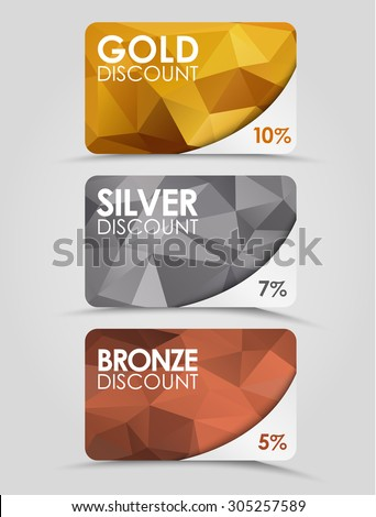 A set of discount cards with gold, silver and bronze geometric polygonal background. - stock vector