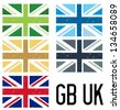 A set of 5 distressed style UK and GB flags - stock photo