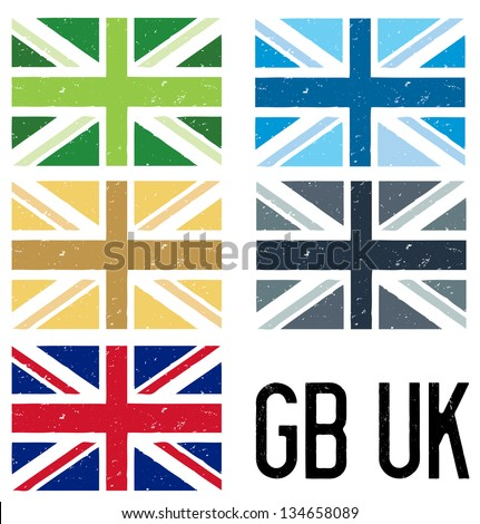 A set of 5 distressed style UK and GB flags - stock vector
