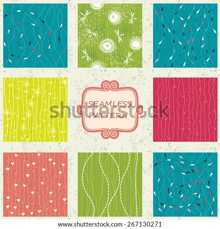 a set of 8 doodle colorful seamless patterns  - stock vector