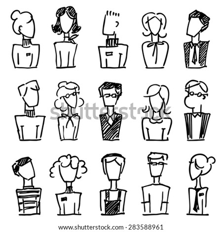 A set of doodle office avatars - stock vector
