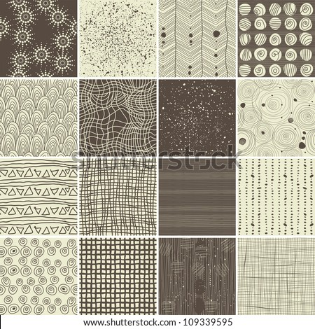 a set of 16 doodle seamless patterns and textures - stock vector