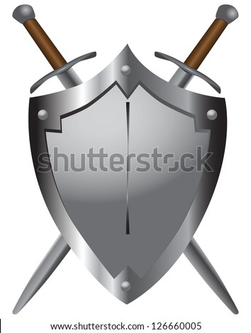 A set of double-edged swords medieval shield. Vector illustration. - stock vector