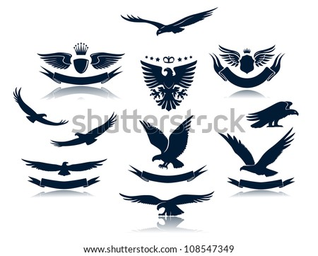 A set of eagles silhouettes - stock vector