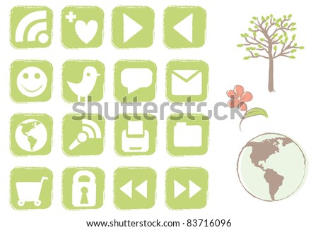 A set of earth friendly icons for websites.