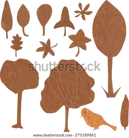 A set of ecologically themed isolated design elements cut out of brown kraft paper: trees, leaves and a bird, scalable vector graphic - stock vector