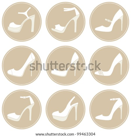 A set of 9 elegant female shoes icons in white and beige.