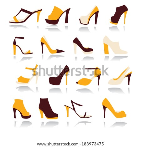A set of 16 elegant High Heels Women Shoes icons in yellow and brown  - stock vector
