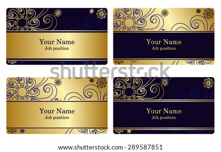 A set of elegant templates with floral elements for cards, invitations, postcards. Color gold and blue. Vector  illustration - stock vector