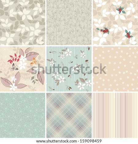 A set of elegant textile / wallpaper seamless patterns. - stock vector