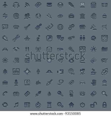 A set of 100 embossed style web icons for all your internet, interface or app needs - stock vector