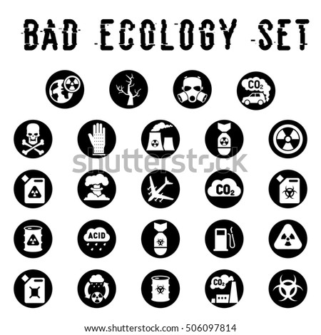 Set Environmental Icons Pollution Nuclear Weapons Stockvector