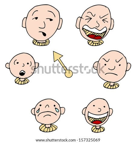 A set of faces showing different face expressions over time. - stock vector