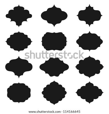 A set of farmes silhouette. Vector  illustration. - stock vector