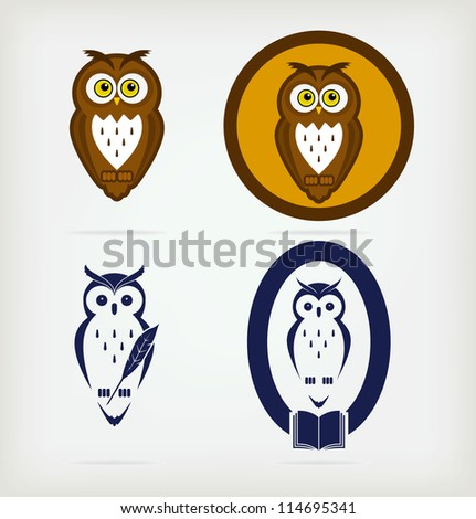 A set of five creative owls - stock vector