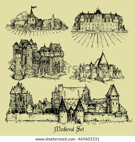 a set of five medieval castles freehand drawings