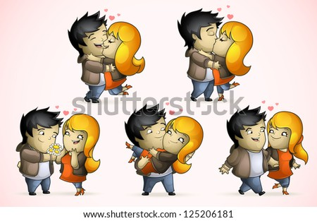 A set of five positions loving couple - stock vector