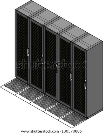 A set of five server racks / cabinets and ventilated floor tiles.