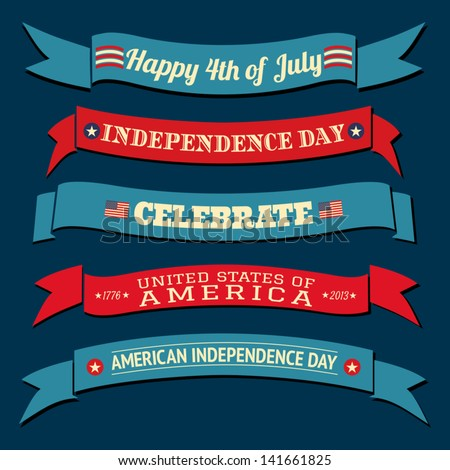 A set of five US Independence Day banners in red and blue. - stock vector