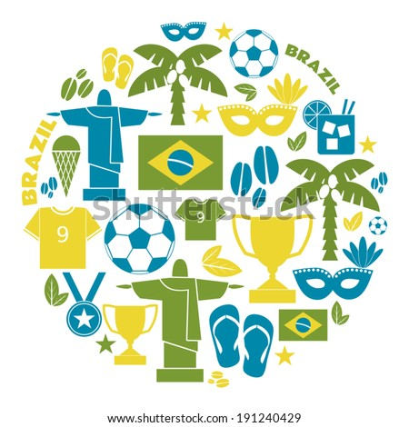 A set of flat design Brazil icons isolated on white background. - stock vector