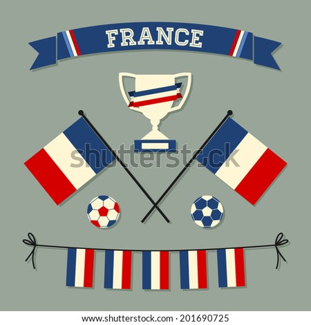A set of flat design France football icons and symbols in blue, white and red. - stock vector