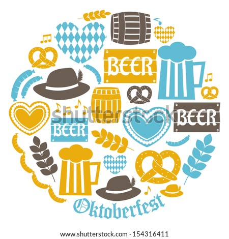 A set of flat design icons for Oktoberfest isolated on white. - stock vector