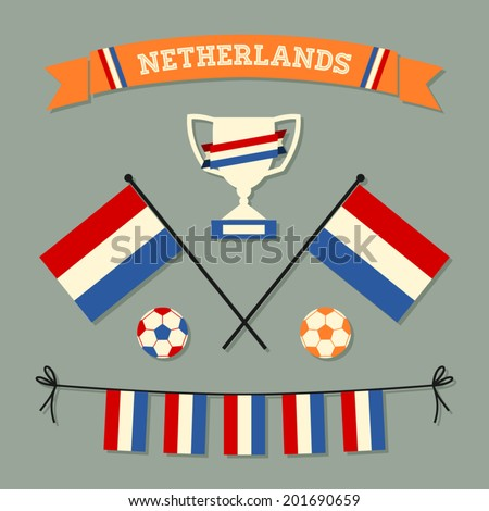 A set of flat design Netherlands football icons and symbols in red, white, blue and orange. - stock vector