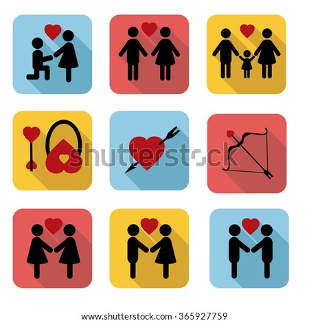 A set of flat icons Valentine's Day - stock vector