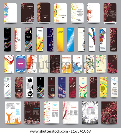 A set of flyers, banners, labels, card and roll-up . - stock vector