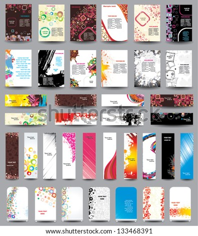 A set of flyers, banners, labels, roll-up - stock vector
