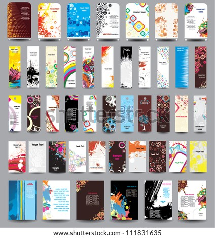 A set of flyers, banners, labels, roll-up and card . - stock vector