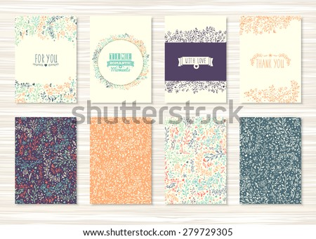 A set of flyers, brochures, templates design. Vintage cards with flower patterns and ornaments. Floral decorations, leaves, flower ornaments. Spring or summer banners vector.  - stock vector